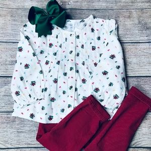 BabyGap 3t red pant + pleated top & bow